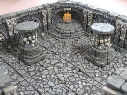 Detail shot of a Dwarven Forge handcrafted and painted resin Catacombs set