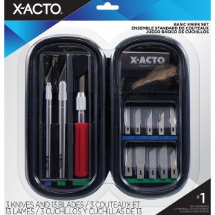 This Elmers X-Acto Knife Set has a great variety of blades and handles and comes in a handy and portable zippered case