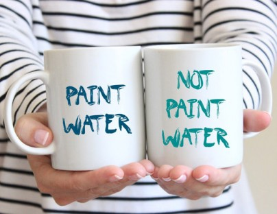 Get a set of these handy Paint Water/Not Paint Water coffee mugs to keep yourself from accidentally imbibing your paint water